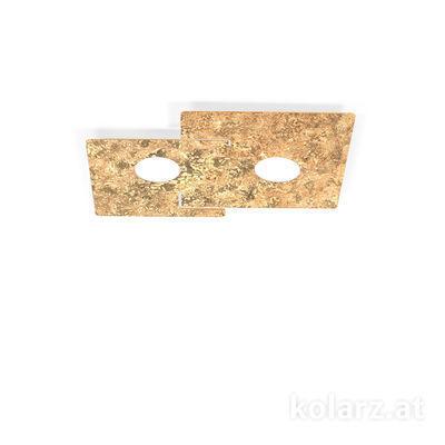 A1337.12.1.VinAu Blanco, Oro, Largo 44cm, Ancho 32cm, Altura 3.5cm, 2 luces, GX53