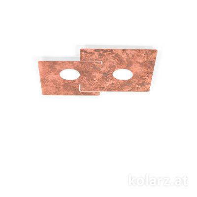 A1337.12.1.VinCu Copper antik, Longueur 32cm, Largeur 44cm, Hauteur 3cm, 2 lumières, GX53