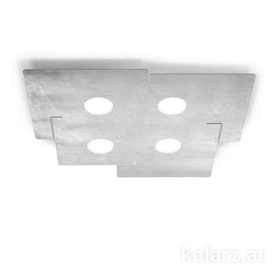 A1337.14.1.Ag Blanco, Largo 51cm, Ancho 56cm, Altura 3cm, 4 luces, GX53