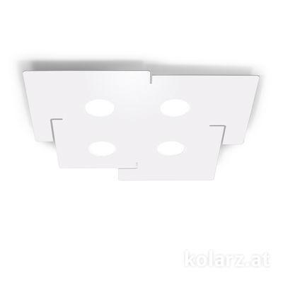 A1337.14.1.W Blanc, Longueur 51cm, Largeur 56cm, Hauteur 3cm, 4 lumières, GX53