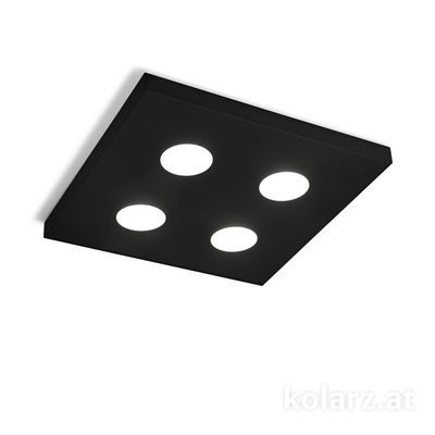 A1345.14Q.Bk Black, Length 40cm, Width 40cm, Min. height 3cm, 4 lights, GX53