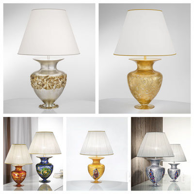pseudo-14 Exquisite table lamps handmade from finest glass and covered with gold or silver leaf. Every piece is unique, an amazing artwork