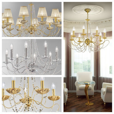 pseudo-47 Classical elegant lighting, magical new design. Feel the fascination of this light and airy crystal chandelier.