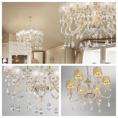 pseudo-39 Glamouröses Glas trifft pures Gold: Mondäne Kronleuchter mit 24 Karat vergoldeten Rahmen und funkelnden Kristallen.