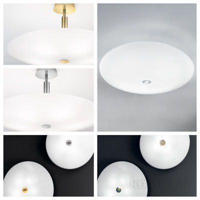 pseudo-16 Round shapes, clear lines and pure design. Crisp contemporary ceiling lights with 24 carat gold-plated or chrome elements.
