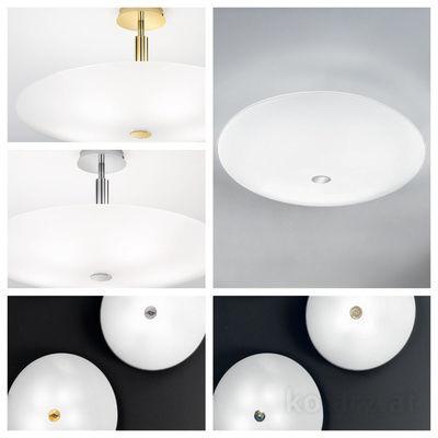 pseudo-16 Runde Formen, klare Linien, puristisches Design. Moderne Deckenleuchten mit Elementen in 24 Karat Gold oder Chrom.