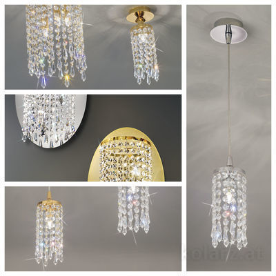 pseudo-21 Finest crystals meet 24 ct gold or chrome. The wonderful effects of this charming crystal light make eyes and rooms sparkle.