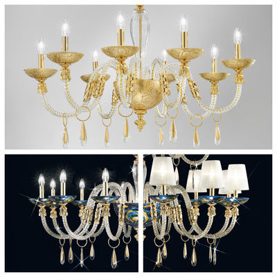 pseudo-37 Charming combination of mouth-blown Murano glass and handpainted decors, these chandeliers are an endless feast for the eyes.