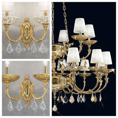 pseudo-43 Impressive golden chandeliers in historic designs. Various handpainted ornaments, reflected in sparkling, eye-catching crystals.