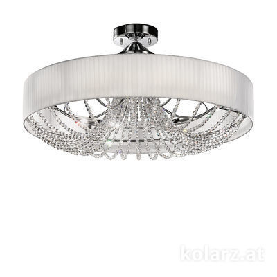 FLO.1097/PL80 03T-WH Chrome, White, Ø80cm, Height 45cm, 12 lights, G9