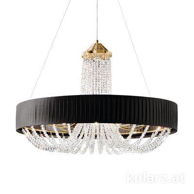 FLO.1097/S80.04.T-BL 24 Carat Gold, Black, Ø80cm, Height 65cm, Min. height 95cm, Max. height 170cm, 12 lights, G9