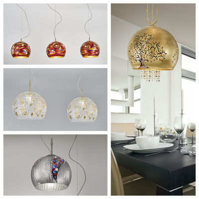 pseudo-10 Glamorous globes with finest handpainted decors, creating an amazing ambience. Brilliant eye-catchers, wonderful mood lighting.