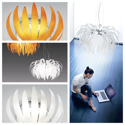 pseudo-25 Viva la dolce vita: This wonderful floral lighting design shows leaves of finest glass, in stylish white or powerful orange.